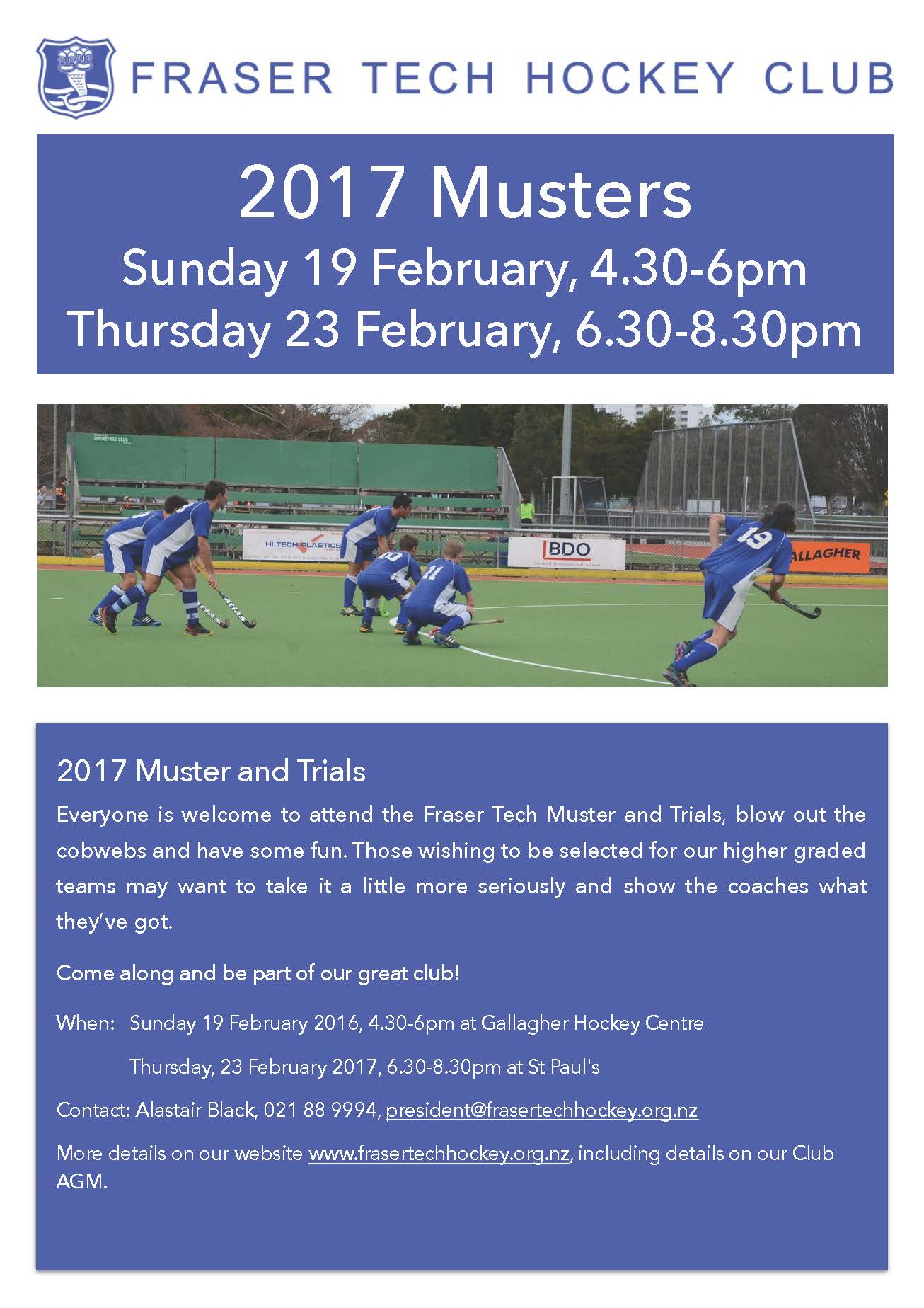 2017 Musters and Trials